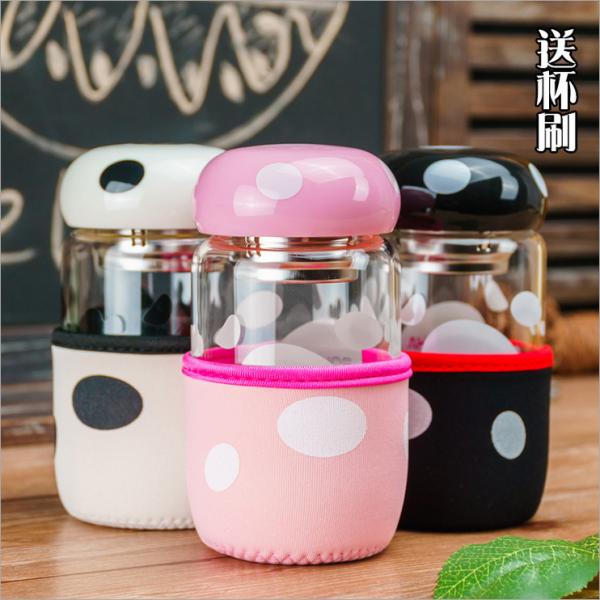 新款创意蘑菇玻璃茶杯