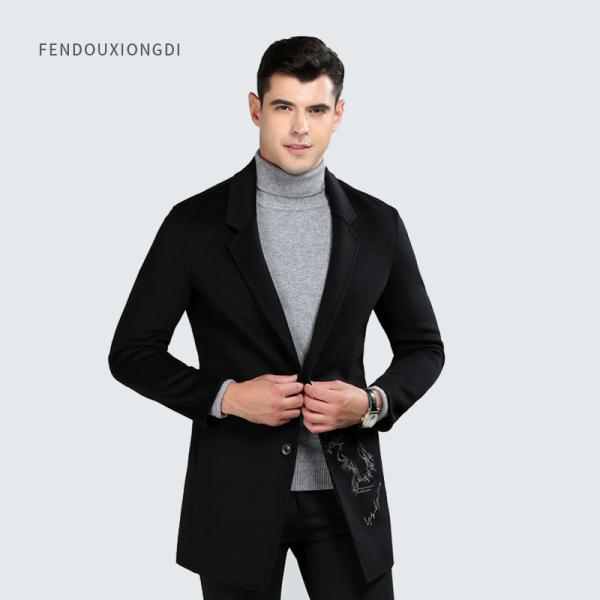 深灰色男士羊毛大衣
