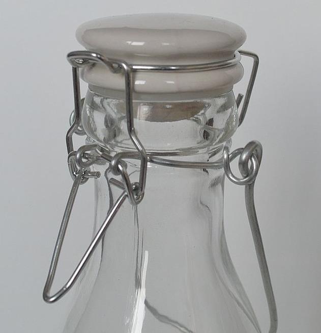 创意玻璃瓶卡扣密封牛奶瓶饮料果汁瓶外带手提鲜奶杯陶瓷盖酵素瓶