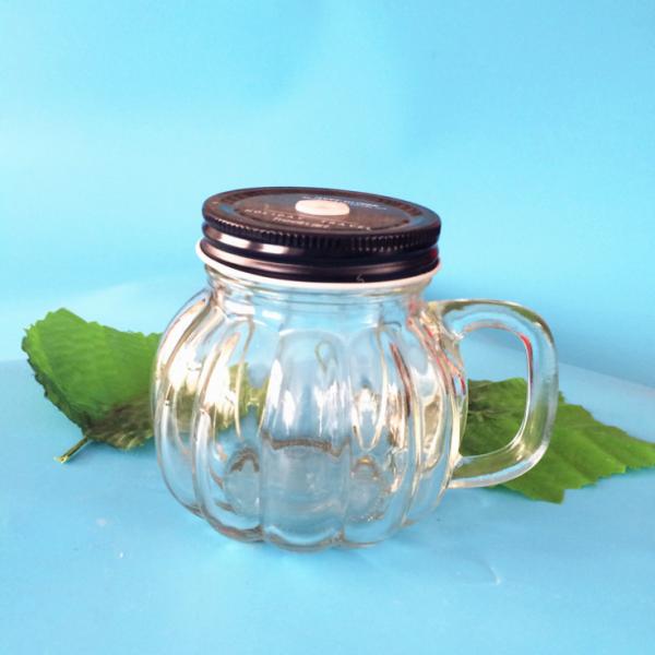 创意南瓜梅森杯耐热玻璃杯简约带盖吸管果汁杯啤酒杯奶茶店杯子