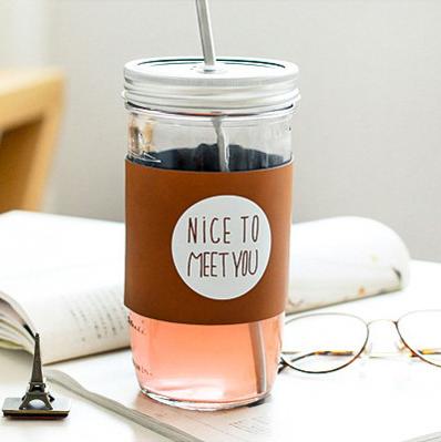 韩国创意梅森瓶成人吸管杯大容量玻璃杯带盖公鸡杯夏季冷饮果汁杯