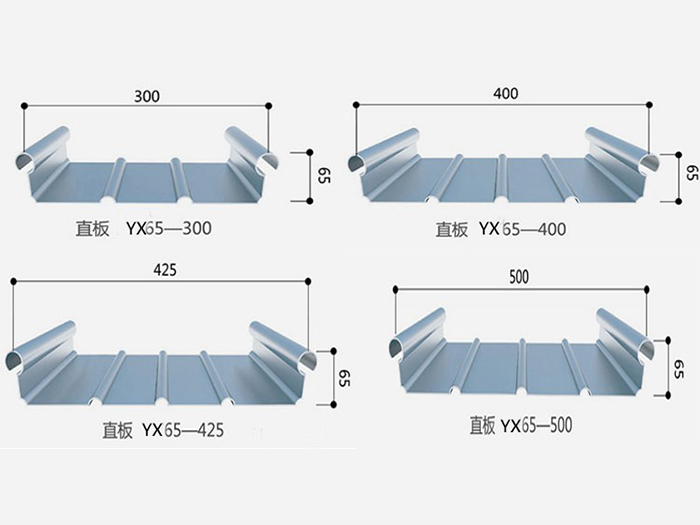 铝镁锰金属屋面板YX65-430型 直立双锁边