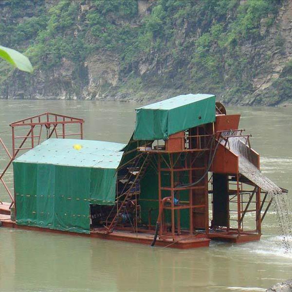 挖斗式淘金船构造组成及使用